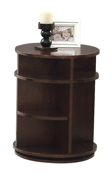 Metropolian Contemporary Dark Cherry Birch MDF Swivel Chairside Table PRG-P474-29