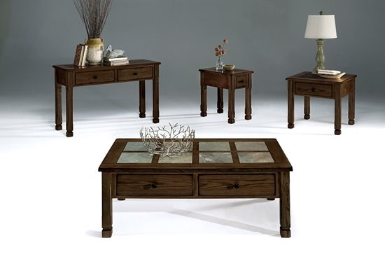Rustic Ridge II Country Mesa Brown Slate Wood Coffee Table Set PRG-P478-OCT