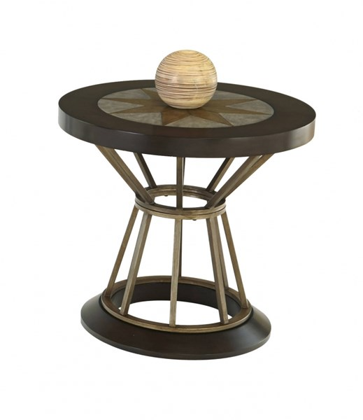 Stargaze Transitional MDF Metal Concrete Round End Table PRG-P482-03