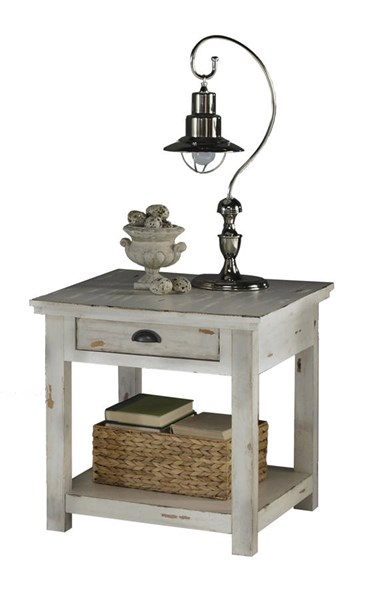 Willow Distressed White Slat Bedroom Set: Willow Casual Distressed White Wood Rectangular End Table