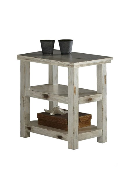 Willow Distressed White Slat Bedroom Set: Willow Casual Distressed White Wood Chairside Table