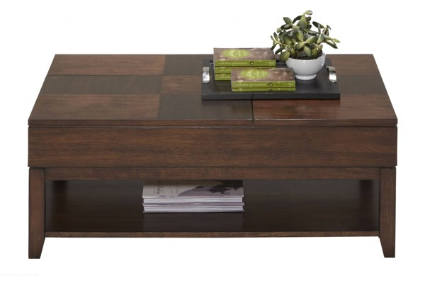 Daytona Contemporary Regal Walnut MDF Double Lift-Top Cocktail Table PRG-P531-25
