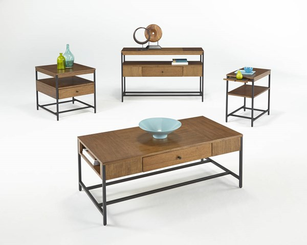 Viero Place Transitional Light Qui Veneer MDF Metal Coffee Table Set PRG-P532-OCT