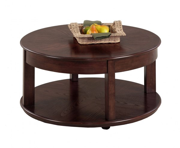 Sebring Contemporary Ash Rubberwood Castered Round Cocktail Table PRG-P543-48