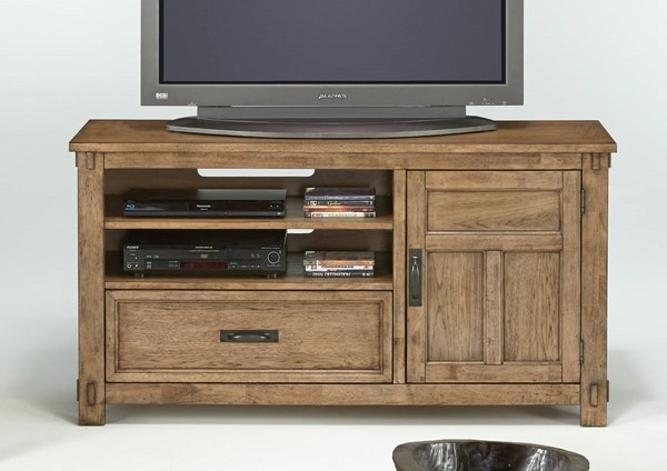 Boulder Creek Transitional Pecan Rubberwood MDF Media Console PRG-P549-57