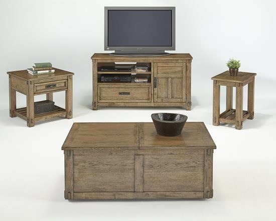 Boulder Creek Transitional Pecan Rubberwood MDF Coffee Table Set PRG-P549-OCT