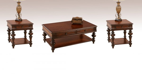 Mountain Manor Traditional Heritage Cherry Wood 3pc Coffee Table Set PRG-P587-01-04