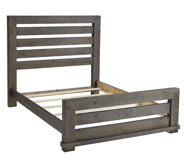 Progressive Furniture Willow Distressed Dark Gray Queen Slat Bed PRG-P600-60-61-78
