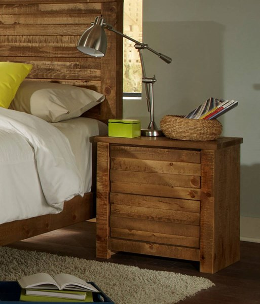 Melrose Transitional Driftwood Solid Wood MDF Nightstand PRG-P604-43