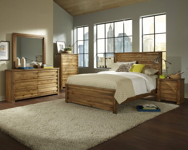 Melrose Driftwood Solid Wood MDF 2pc Bedroom Set W/King Bed PRG-P604-BR-S1