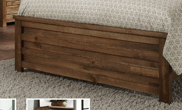 Melrose Transitional Driftwood Solid Wood MDF Queen Panel Footboard PRG-P604-35