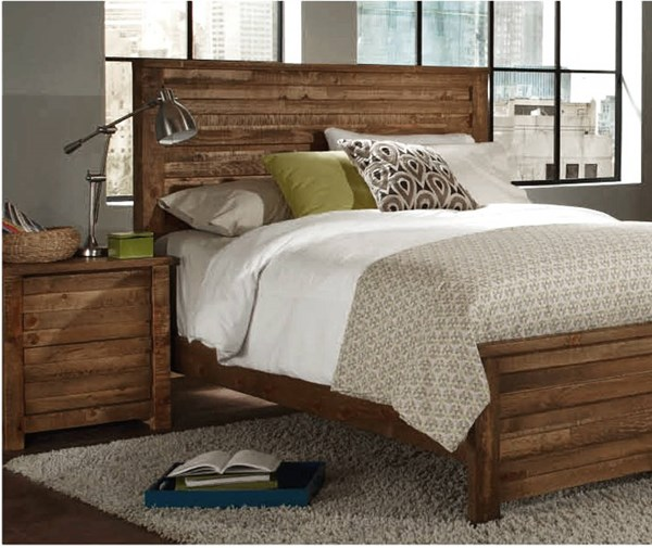 Melrose Transitional Driftwood Solid Wood MDF Queen Panel Headboard PRG-P604-34