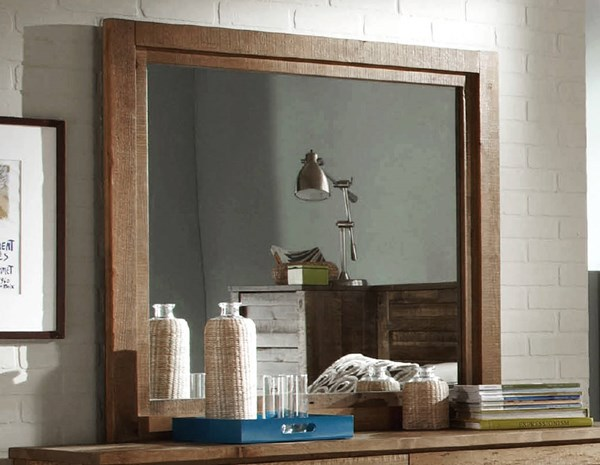 Melrose Transitional Driftwood Solid Wood MDF Mirror PRG-P604-50