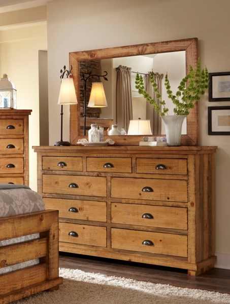 Willow Casual Distressed Pine Wood Drawer Dresser & Mirrors PRG-P608-23-50-VAR