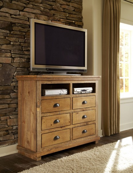 Willow Casual Distressed Pine Solid Wood MDF Media Chest PRG-P608-46