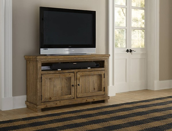 Willow Casual Distressed Pine Solid Veneers 54 Inch Console PRG-P608E-54