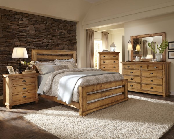 Willow Casual Distressed Pine Wood 2pc Bedroom Sets PRG-P608-BR-SLT-S