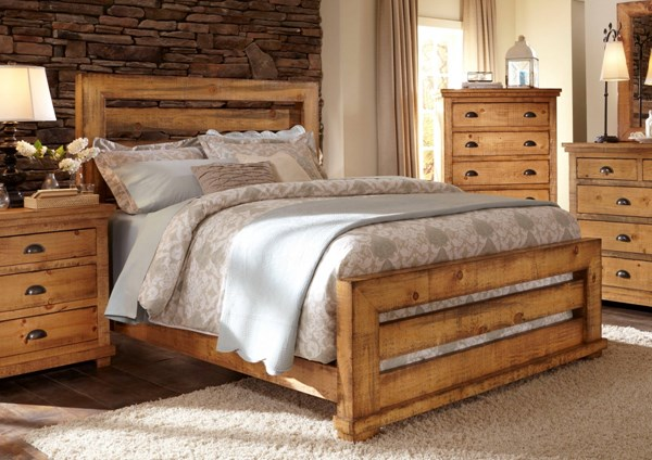 Willow Casual Distressed Pine White Black Wood Beds PRG-P608-BEDS
