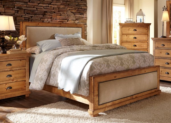 Willow Casual Distressed Pine Solid Wood MDF King Upholster Headboard PRG-P608-94