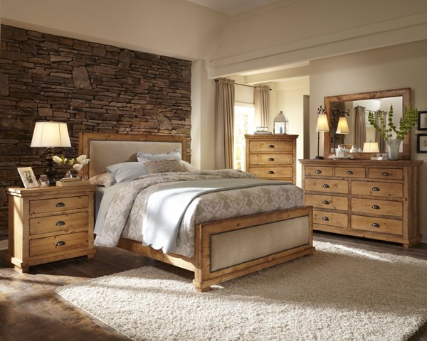 Willow Distressed Pine Wood 2pc Bedroom Sets W/Upholstered Beds PRG-P608-BR-UPH-S