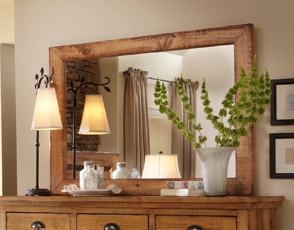 Willow Casual Distressed Pine Solid Wood MDF Mirror PRG-P608-50