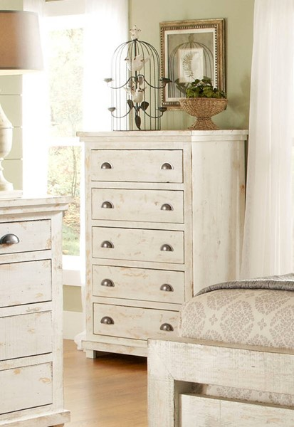 Willow Casual Distressed White Solid Wood MDF Chest PRG-P610-14
