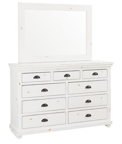Progressive Furniture Willow Distressed White Dresser and Mirror PRG-P610-23-50