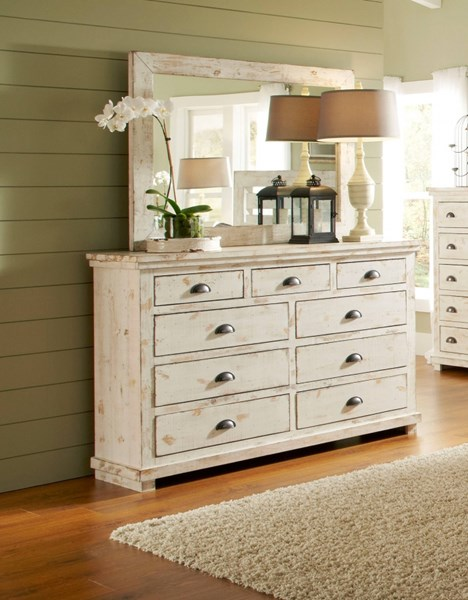 Willow Casual Distressed White Solid Wood MDF Dresser & Mirror PRG-P610-23-50