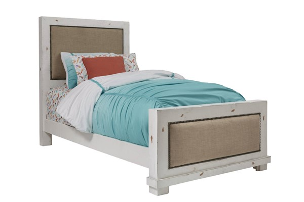 Progressive Furniture Willow Distressed White Twin Upholstered Bed PRG-P610-25-26-27