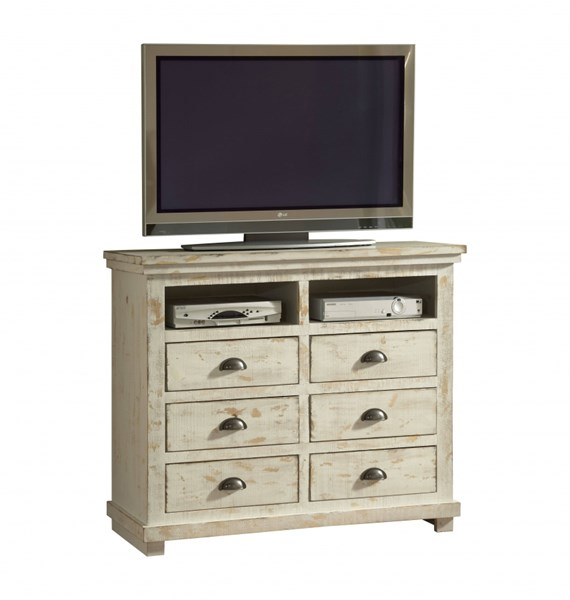 Willow Casual Distressed White Solid Wood MDF Media Chest PRG-P610-46