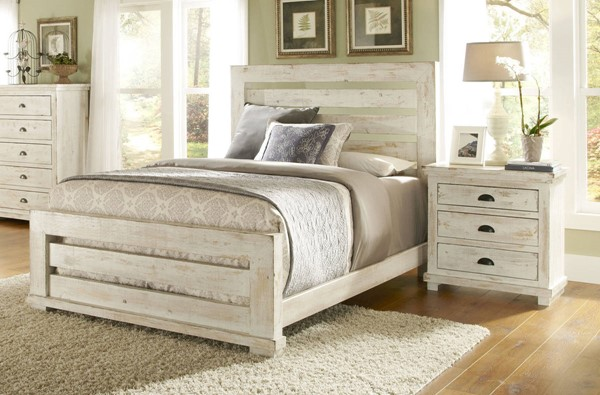 Progressive Furniture Willow Distressed White 2pc Bedroom Set with King Slat Bed PRG-P610-BR-S1
