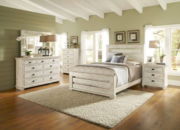 Willow White Solid Wood MDF 2pc Bedroom Set W/Queen Slat Bed PRG-P610-BR-S2