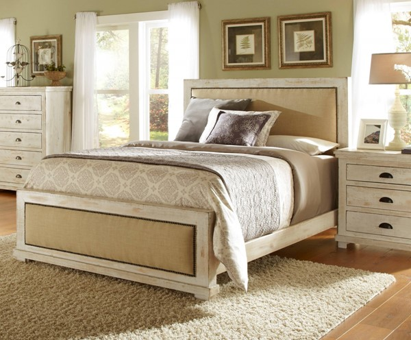Willow Casual White Solid Wood MDF Queen Upholster Headboard PRG-P610-34