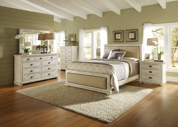 Willow White Solid Wood 2pc Bedroom Set W/King Upholster Bed PRG-P610-BR-S3