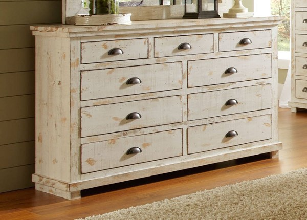 Willow Casual Distressed White Solid Wood MDF Drawer Dresser PRG-P610-23