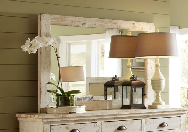Willow Casual Distressed White Solid Wood MDF Mirror PRG-P610-50