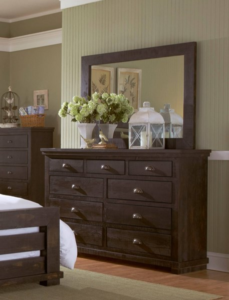 Willow Casual Distressed Black Solid Wood MDF Dresser & Mirror PRG-P612-23-50
