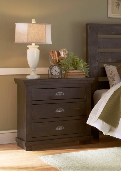 Willow Casual Distressed Black Solid Wood MDF Nightstand PRG-P612-43