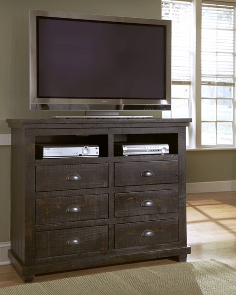 Willow Casual Distressed Black Solid Wood MDF Media Chest PRG-P612-46