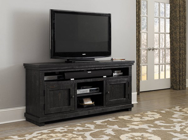 Willow Casual Distressed Black Pine Solid Veneers 64 Inch Console PRG-P612E-64