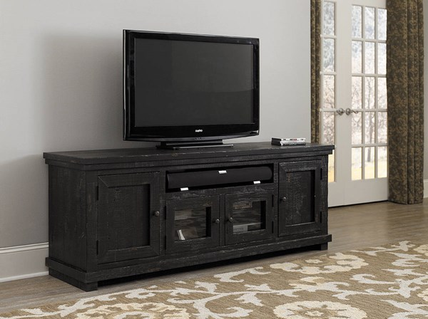 Willow Casual Distressed Black Pine Solid Veneers 74 Inch Console PRG-P612E-74