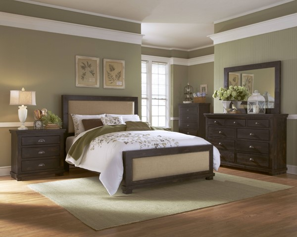 Willow Black Solid Wood 2pc Bedroom Set W/Queen Upholster Bed PRG-P612-BR-S4