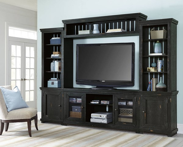 Progressive Furniture Willow Distressed Black Wall Unit with TV Stand PRG-P612E-20-22-68-90