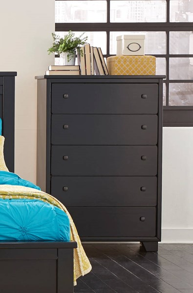 Diego Casual Black Solid Veneer Drawer Chest PRG-P619-14