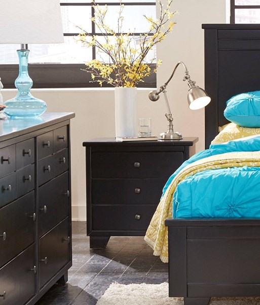 Diego Casual Black Solid Wood Nightstand PRG-P619-43
