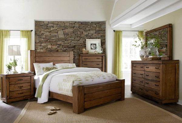 Maverick Rustic Driftwood Wood Master Bedroom Set PRG-P626-BR