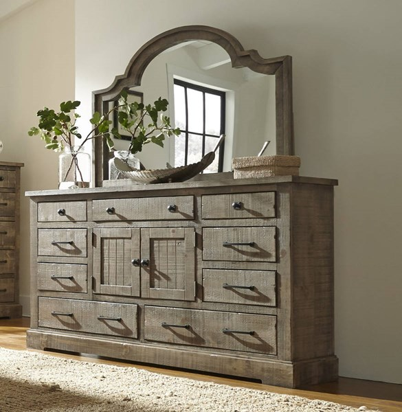 Meadow Casual Weathered Gray Solid Wood MDF Mirror PRG-P632-50