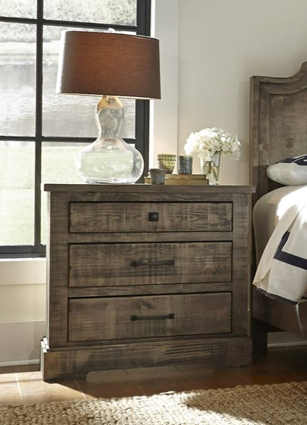 Meadow Casual Weathered Gray Solid Wood MDF Nightstand PRG-P632-43