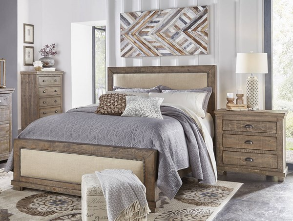 Progressive Furniture Willow Weathered Gray 2pc Bedroom Set With Queen Upholstered Bed The Classy Home