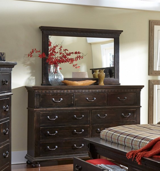 La Cantera Traditional Tobacco Solid Wood Dresser & Mirror PRG-P665-23-50
